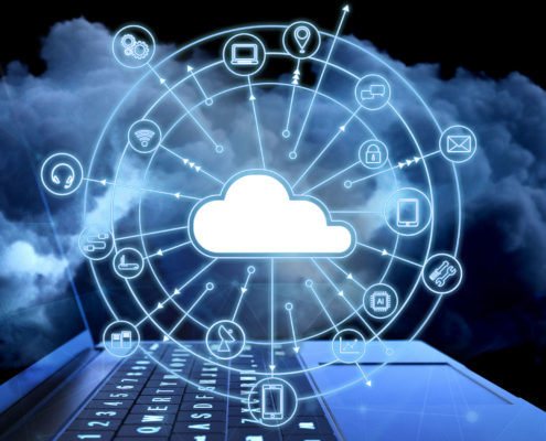 Clouds and cloud icons floating in circle above laptop